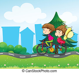 A bike with two people - Illustration of a bike with two...
