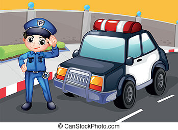 An officer and his patrol car - Illustration of an officer...