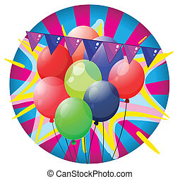 Colorful balloons inside the big circle