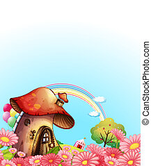 A mushroom house above the hill with a garden - Illustration...