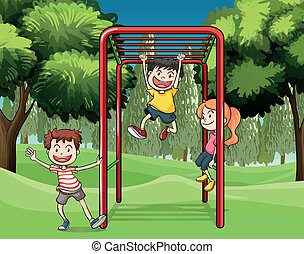 Three kids playing at the park