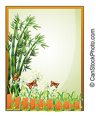 A frame with bamboo plants and butterflies