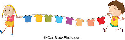 Kids holding the tips of the wire for the hanging clothes -...