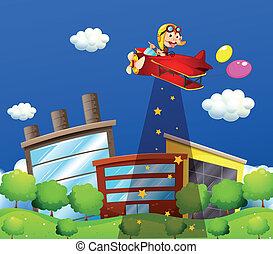 A monkey riding in an aircraft above the buildings
