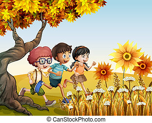Children running at the hill with sunflowers - Illustration...