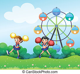Illustration of the two cheerers dancing in the hill with a ferris wheel at the back