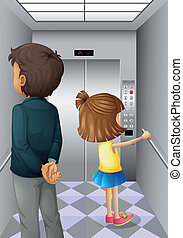 An elevator with a man and a young girl