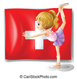 The flag of Switzerland and the young ballet dancer