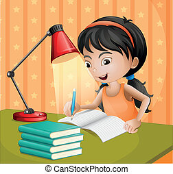 A girl writing with a lampshade - Illustration of a girl...