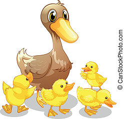 The brown duck and her four yellow ducklings - Illustration...