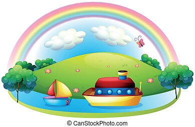 Ships near an island with a rainbow - Illustration of the...
