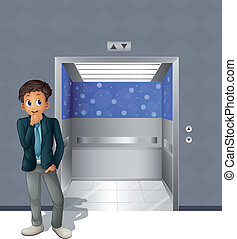 A boy standing outside the elevator - Illustration of a boy...