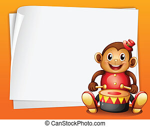 An empty sheet of paper with a musical monkey