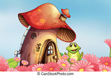 A frog near the mushroom house with a garden of flowers -...