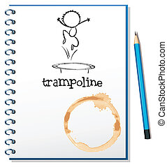 A notebook with a trampoline at the cover - Illustration of...
