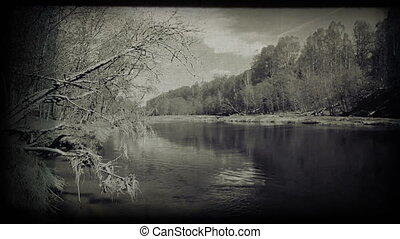 Calm river image. Vintage styled clip. 