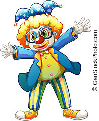 A clown with a colorful costume - Illustration of a clown...