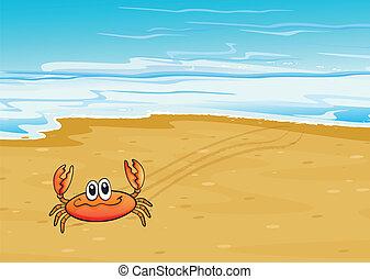 A crab crawling at the seashore - Illustration of a crab...