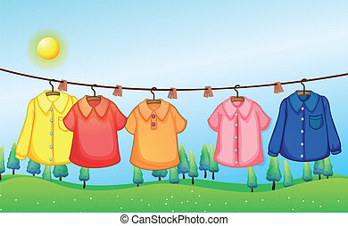 Washed clothes hanging under the sun - Illustration of the...