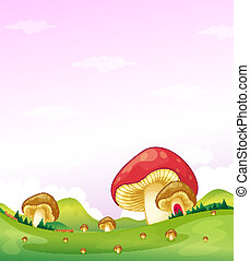 Mushrooms in the hills - Illustration of the mushrooms in...