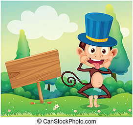 A monkey in the hill with a wooden signboard