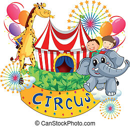 A circus show with kids and animals - Illustration of a...