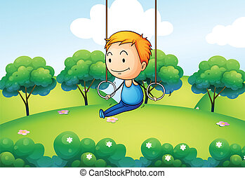 A boy exercising at the hill - Illustration of a boy...