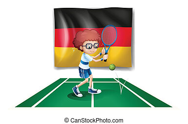 A tennis player with the flag of Germany