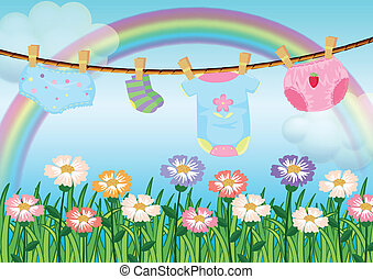 A garden with hanging baby clothes - Illustration of a...