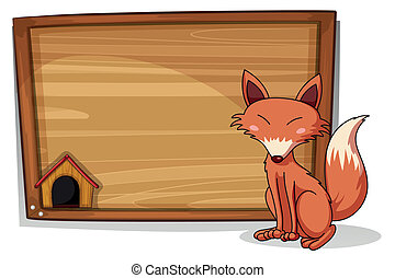 A fox beside an empty board