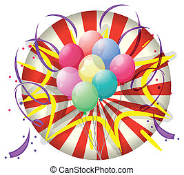 A spinning wheel with balloons at the center - Illustration...