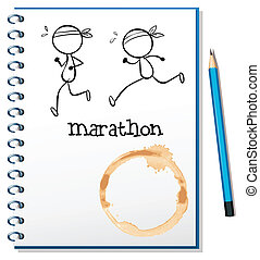 A notebook with two runners in the cover page - Illustration...