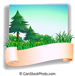 An empty signage in front of the pine trees - Illustration...