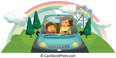 A mother driving the car with her daughter