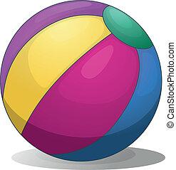 a, coloré, gonflable, plage, balle
