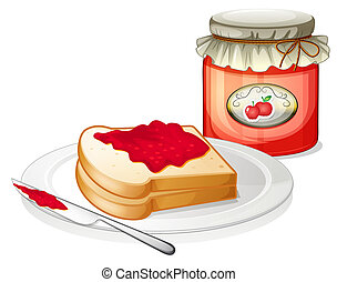 An apple jam with a sandwich in the plate - Illustration of...