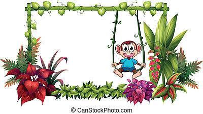 An empty frame made of bamboo with a monkey - Illustration...