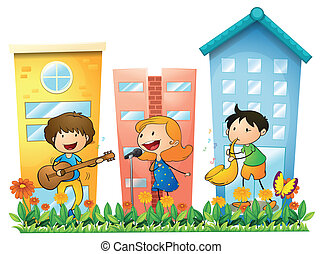 Musicians performing near the buildings - Illustration of...