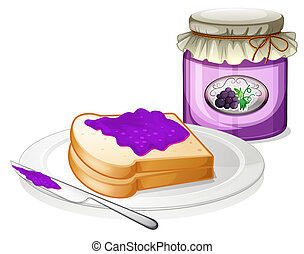 A grape jam with a sandwich at the plate - Illustration of a...