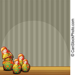 Four Russian dolls at the stage