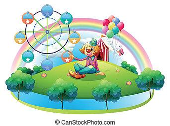 An island with a female clown and an amusement park