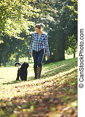 Woman with dog - woman walking her black dog in the park on...
