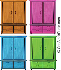Four different colors of a wooden cabinet - Illustration of...