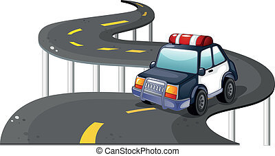 A police car at the road - Illustration of a police car at...