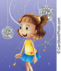 A girl looking at the disco balls - Illustration of a girl...