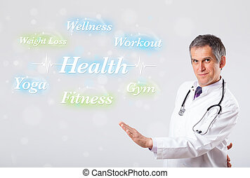 Elderly clinical doctor pointing to health and fitness...