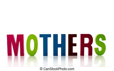 text for mothers day - letters in red green blue with...