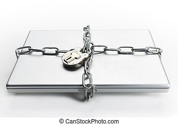 Chained laptop - Closed laptop computer with chain wrapped...