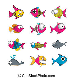 fish illustration - illustration of icons of fish, aquatic...
