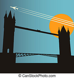 London City Break, vector background with Tower Bridge at...